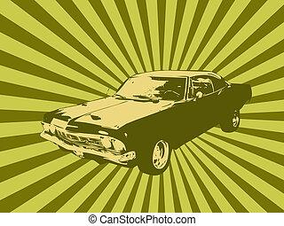 Old retro car - illustration of old timer car. Old retro car...