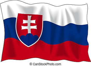 Sloavakian flag - Waving flag of Slovakia isolated on white