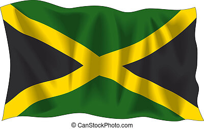 Jamaican flag - Waving flag of Jamaica isolated on white