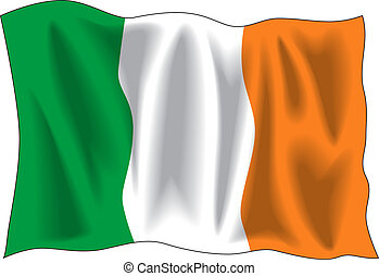 Ireland flag - Waving flag of Ireland isolated on white