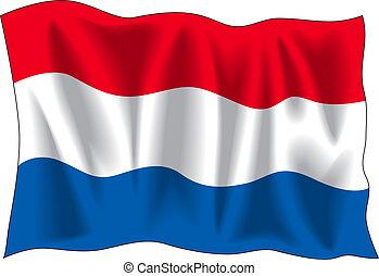 Netherland flag - Waving flag of Netherland isolated on...