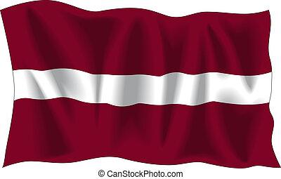Latvian flag - Waving flag of Latvia isolated on white