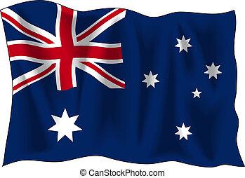 Australian flag - Waving flag of Australia isolated on white