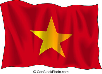 Vietnam flag - Waving flag of Vietnam isolated on white...