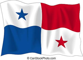 Flag of Panama - Waving flag of Panama isolated on white