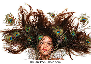 Crazy Hair - Girl wearing makeup made of rhinestone flowers...