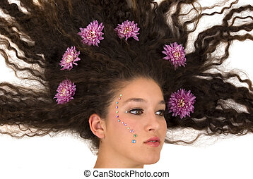 Hairdo - Girl with flowers on her hair