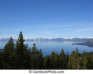 Lake Tahoe, Blue Sky and Snow Mountain Range