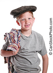 cute young boy with vintage hat