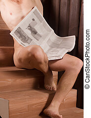 Muscular male torso - Naked male sitting on chairs with...