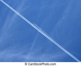 Jet airplanes in the blue sky - Trace of a jet airplane...