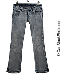 Blue jeans on a white background - Blue jeans on a hanger,...