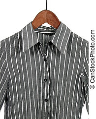 Gray striped shirt on wooden hanger, isolated on white.