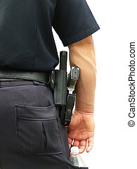 Policeman in Uniform - Detail of Policeman\\\'s Uniform: Gun...