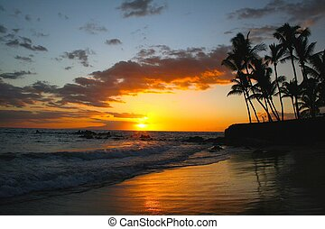 tropical sunset - sunset at white rock in makena, maui,...