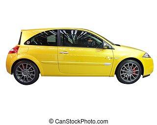 voiture,  2, courses, jaune