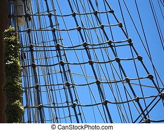 ships ropes - the mast and ropes of a sailing ship