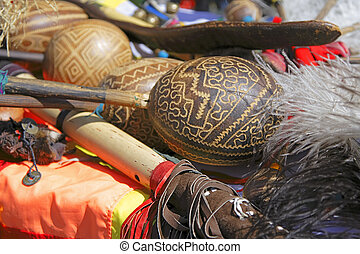 The Andes instruments- maracas - Close-up of maracas a...