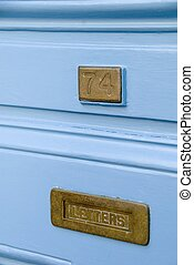 Brass Letterbox - An old fashioned brass letterbox at number...