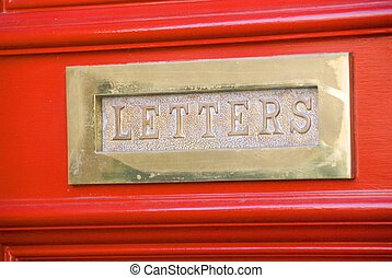 Brass Letterbox - Old Brass Letter Box in a red door