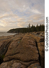 Rocky Shore, Acadia Nat. Park, ME - Early Light on Rocky...