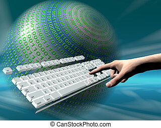 internet access, keyboard - A free interpretation of an...