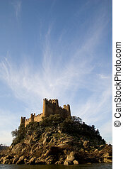 Almourol Castle and Clouds - The Almourol Castle in Portugal...
