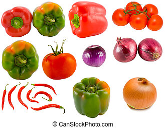 vegetable collection - the vegetable collection isolated on...