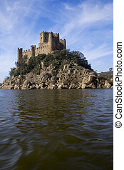 Almourol Castle and river - the almourol castle in the...