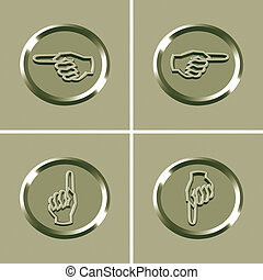 hand icon - 3d hand icon - computer generated clipart