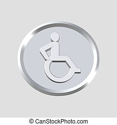 wheel chair icon - 3d wheel chair icon