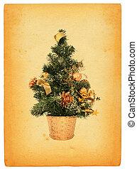 retro christmas tree - christmas tree against retro paper...