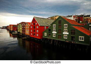 Trondheim - Old buildings on the bank of Nidelva river in...
