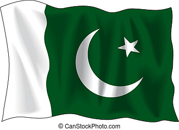 Flag of Pakistan - Waving flag of Pakistan isolated on white