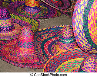Colorful Sombreros on the Plaza Major in Merida Mexico