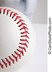 Baseball close stiches - A baseball with red stiches