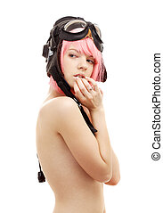 aviator helmet girl - picture of topless pink hair girl in...