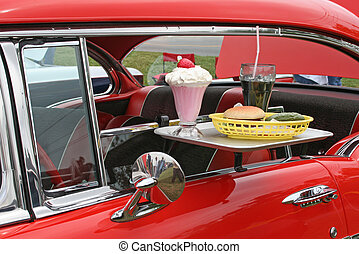 car hop food retro car - tray of food brought by car hop on...