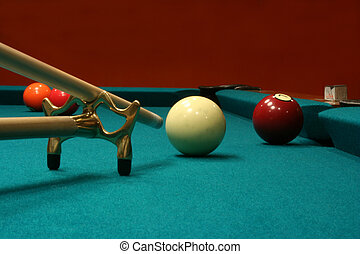 Billiard Balls with cue stick and bridge - An image of some...