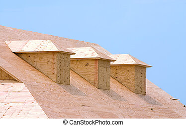 Roof sheeting - New building under construction showing...