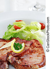 Pork steak with vegetable - Two pieces of pork steak with...