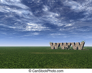 www rocks - www rock on a green field - 3d illustration