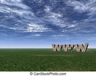 www rocks - www rock on a green field - 3d illustration
