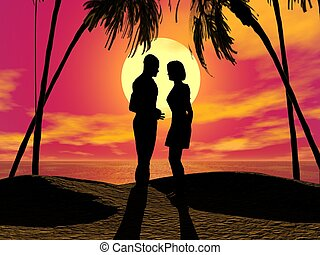 sunset couple -  	couple and glorious sunset