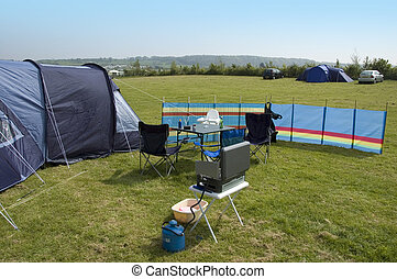Camping - A scene from a family campsite on a summers day