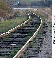 Rail Road Tracks - Old seldome used Rail tracks along a...