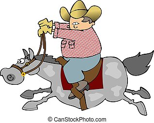Horse Rider - This illustration depicts a cowboy riding a...