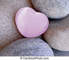 womens health awareness - pink heart stone with grey stone...