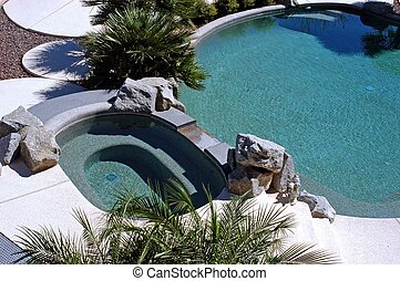 inviting pool and spa - ariel view of swimming pool and spa
