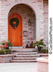 House detail - Entrance of a luxury house with natural stone...